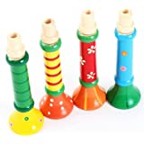 Fulltime(TM) Multi-Color Baby kids Wooden Horn Hooter Trumpet Instruments Music Toys