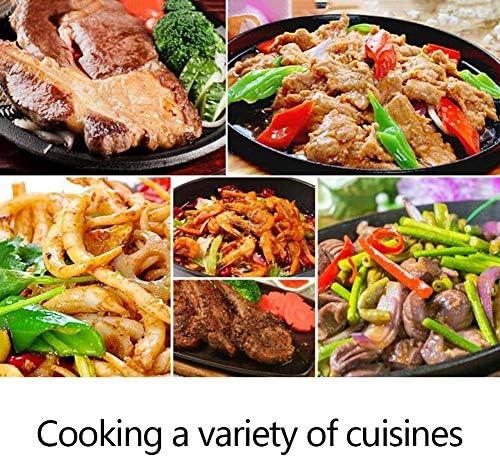 LULUDP Casseroles et poëles Steak à assiettes avec plaque de cuisson commerciale pour assiettes à barbecue Teppanyaki avec plaque à induction à deux poignées Batteries de cuisine