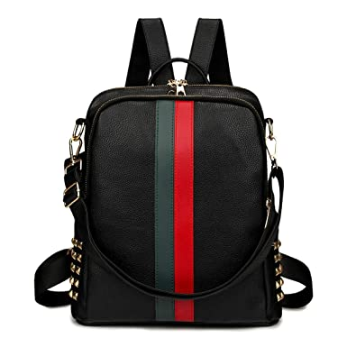 d76ff69335cb Amazon.com  Mini Cute Backpack Leparvi Girly Leather Day Packing Teen  Satchel Luxury Designer Women Tote Bag Ladies Work Rucksack (Black)   Clothing
