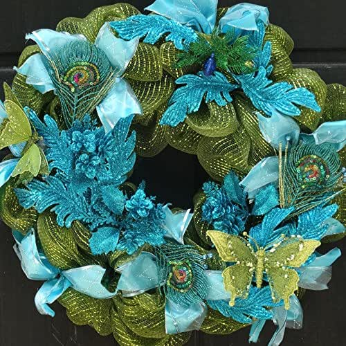 Peacock Deco Mesh Wreath Green Blue Front