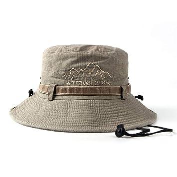 Qiusa Hombres Cowboy Bucket Hat Fishman Gorras Planas Polo Pesca Exterior Sun Hat (Color : Caqui, tamaño : 56-58cm): Amazon.es: Hogar