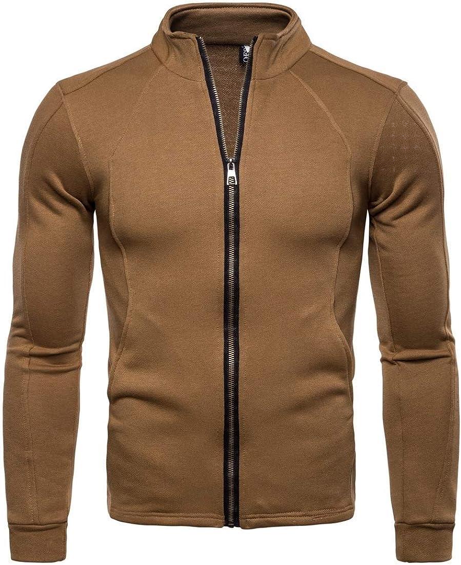 Mens Pockets Full Zipper Stand Collar Slim Fit Stylish Sweatshirt Jacket
