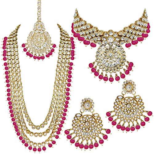 Aheli Indian Wedding Kundan Beaded Bridal Long Choker Necklace Earrings with Maang Tikka Traditional Jewelry Set for Women (Pink) (Pink Bridal Sets Wedding Rings)
