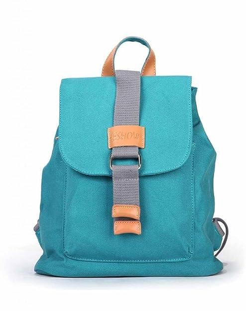 Eshow Bolso Mochila de Tela de Lona para Mujer Bolso Escolar, Azul Claro: Amazon.es: Zapatos y complementos