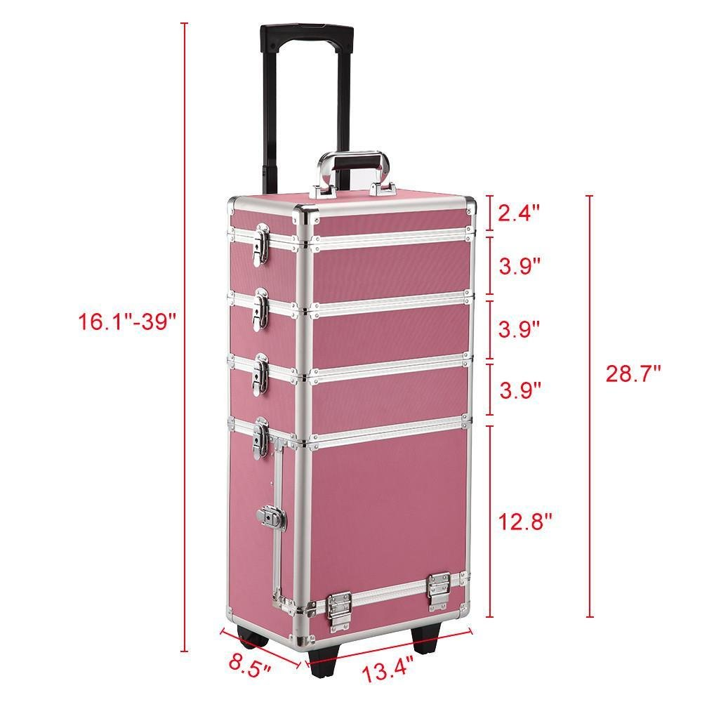 go2buy 4-in-1 Aluminum Rolling Makeup Train Case Professional Artist Trolley Case Cosmetic Organizer Makeup Organizer with 2 wheels