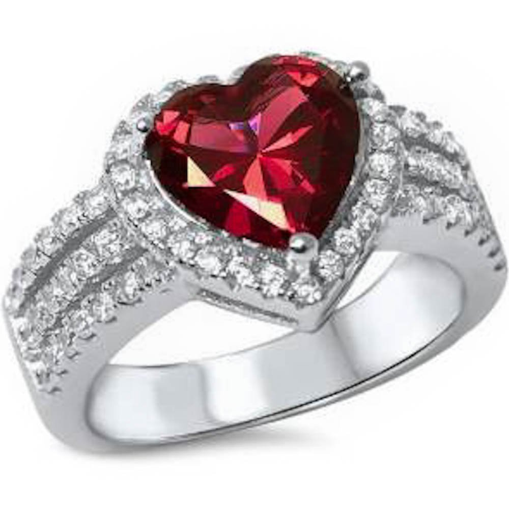 3ct Heart Shape Simulated Ruby & Cz .925 Sterling Silver Ring Size 7