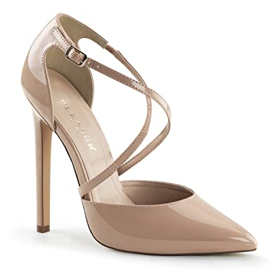 Amazon.com | Womens Nude Pumps Shoes with Criss Cross Straps and 5 ...
