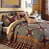 4pc Folkways FARMHOUSE Style California King Quilt with Burgundy Friendship Stars, Baa Baa Blessings Toss Pillow Included
