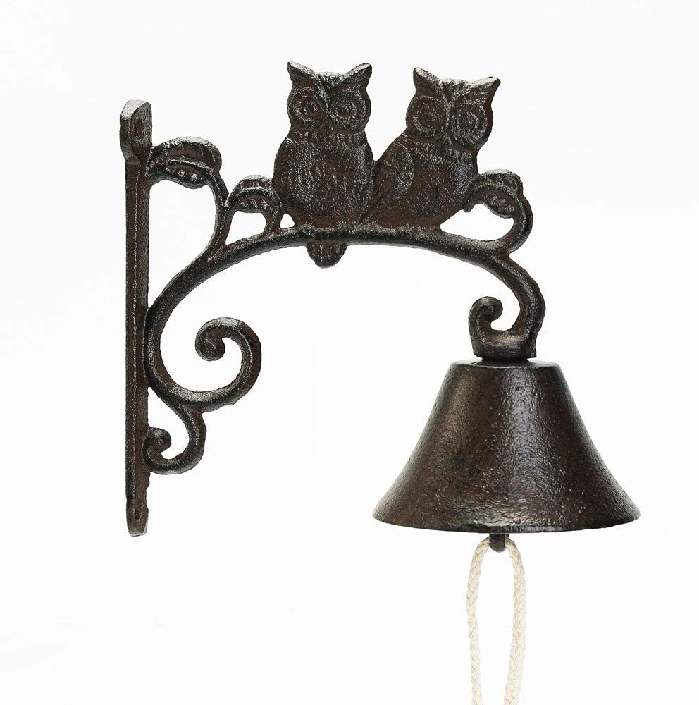 Sungmor Heavy Duty Cast Iron Wall Bell - Decorative Retro Style Lovely Owls Hand Bell - Manually Shaking Wall Hanging Doorbell - Indoor Outdoor Wall Mounted Dinner Bell - Garden Home Wall Decoration