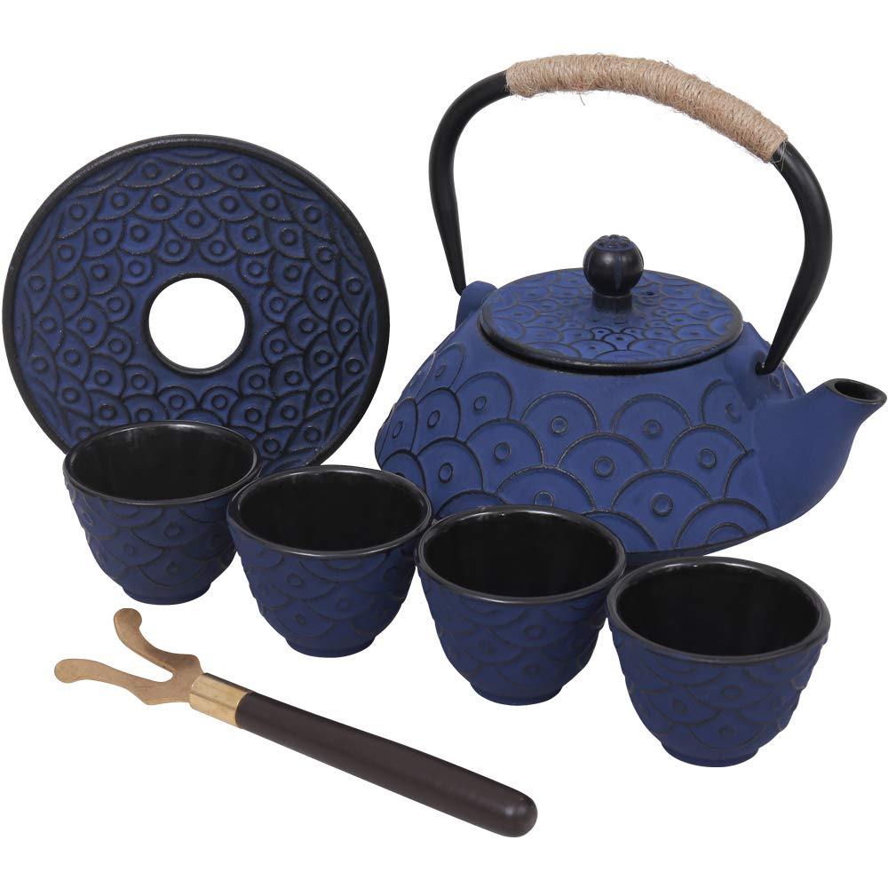 Japanese Style Cast Iron Teapot Set with 4 Tea Cups Iron Tea Kettle with Infuser Hemp Rope Trivet Asian Gift for Adults Parents (Fish Scale Pattern, Blue,Anti Rust) by Isino