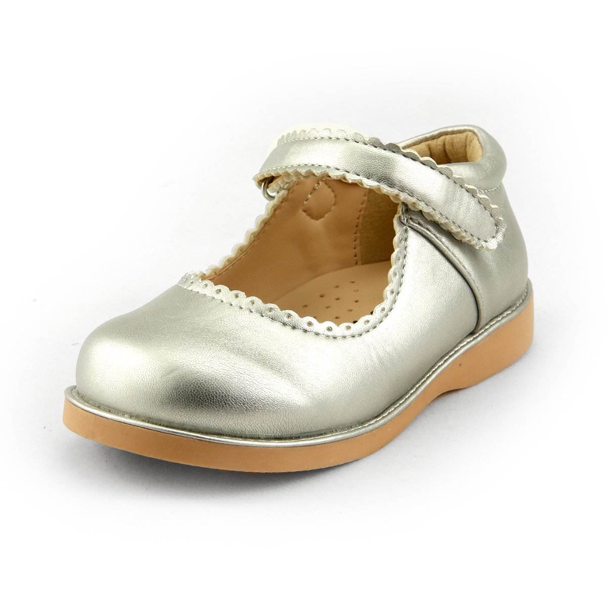 Girl's School Dress Classic Shoes Touch Close Mary Jane 3 Colors Toddler Size (7, silver)