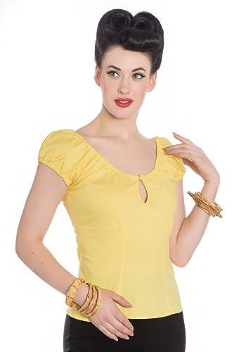 Blusa Top Jersey de estilo Rockabilly de los 50's con Lunares Hell Bunny Melissa