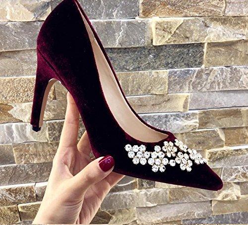 Xue Qiqi Zapatos de Corte Rhinestone Rojo Zapatos de Novia Zapatos de Boda Mujer Zapatos Únicos Mujer Princesa Punta Tacón Alto Hembra Fino con, Red Wine, 33 33|Red wine