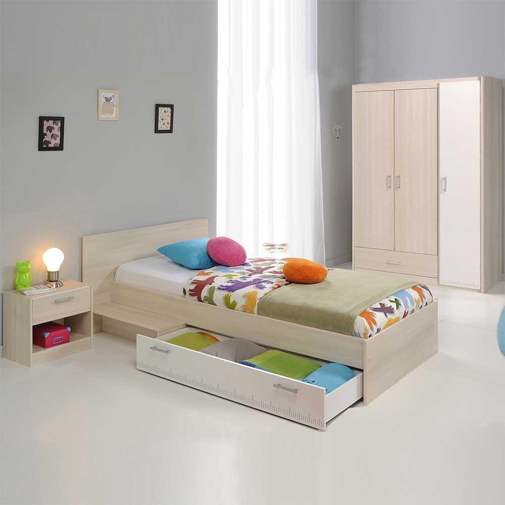 Pharao24 Jugendzimmermöbel Set in Akazie Weiß Schubladenbett