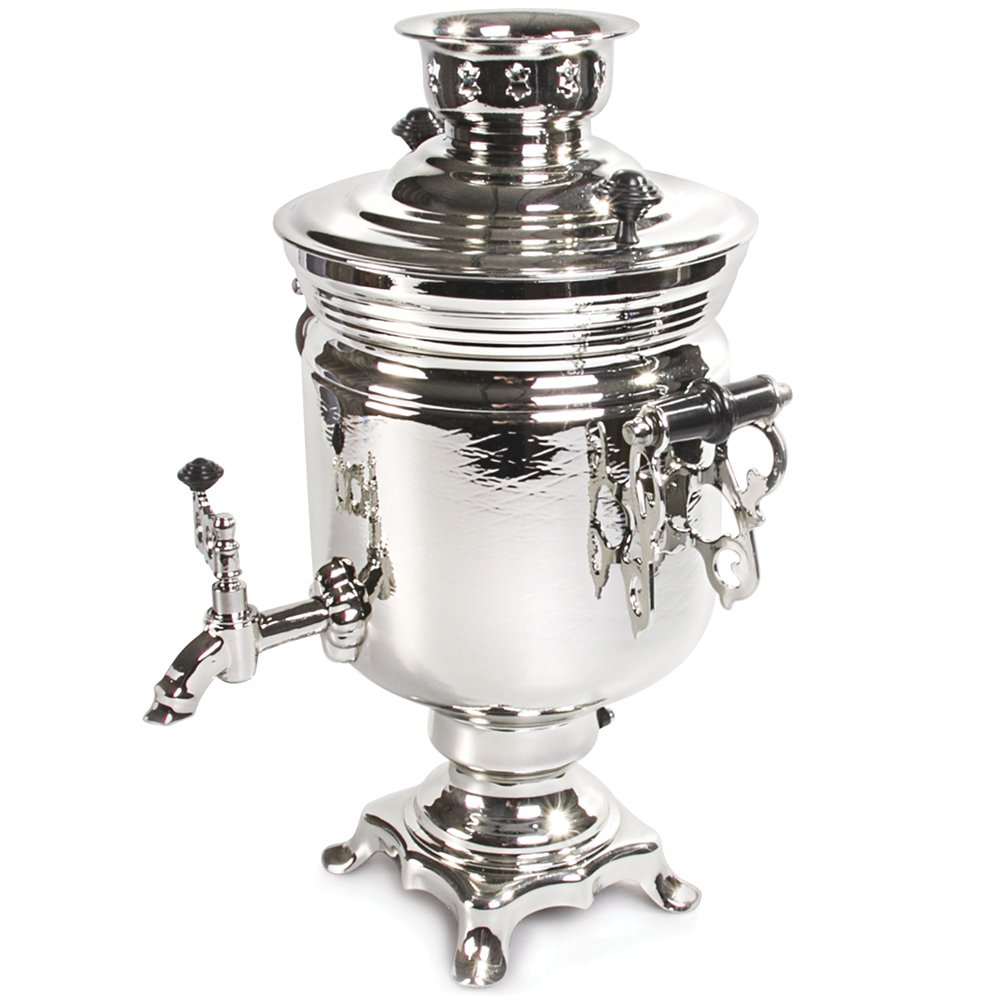 Silvery Electric Samovar Russian Samovar by Books.And.More (Image #1)