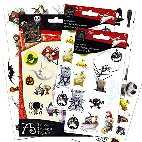 [Nightmare Before Christmas Temporary Tattoos and Stickers Party Supplies Pack] (Temporary Christmas Tattoos)