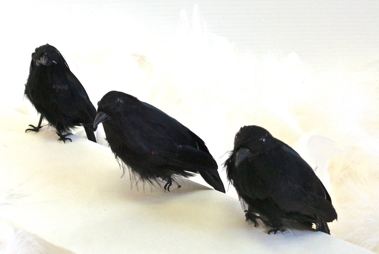 black feathered small halloween crows 3 pc black birds amazoncouk kitchen home - Halloween Crows
