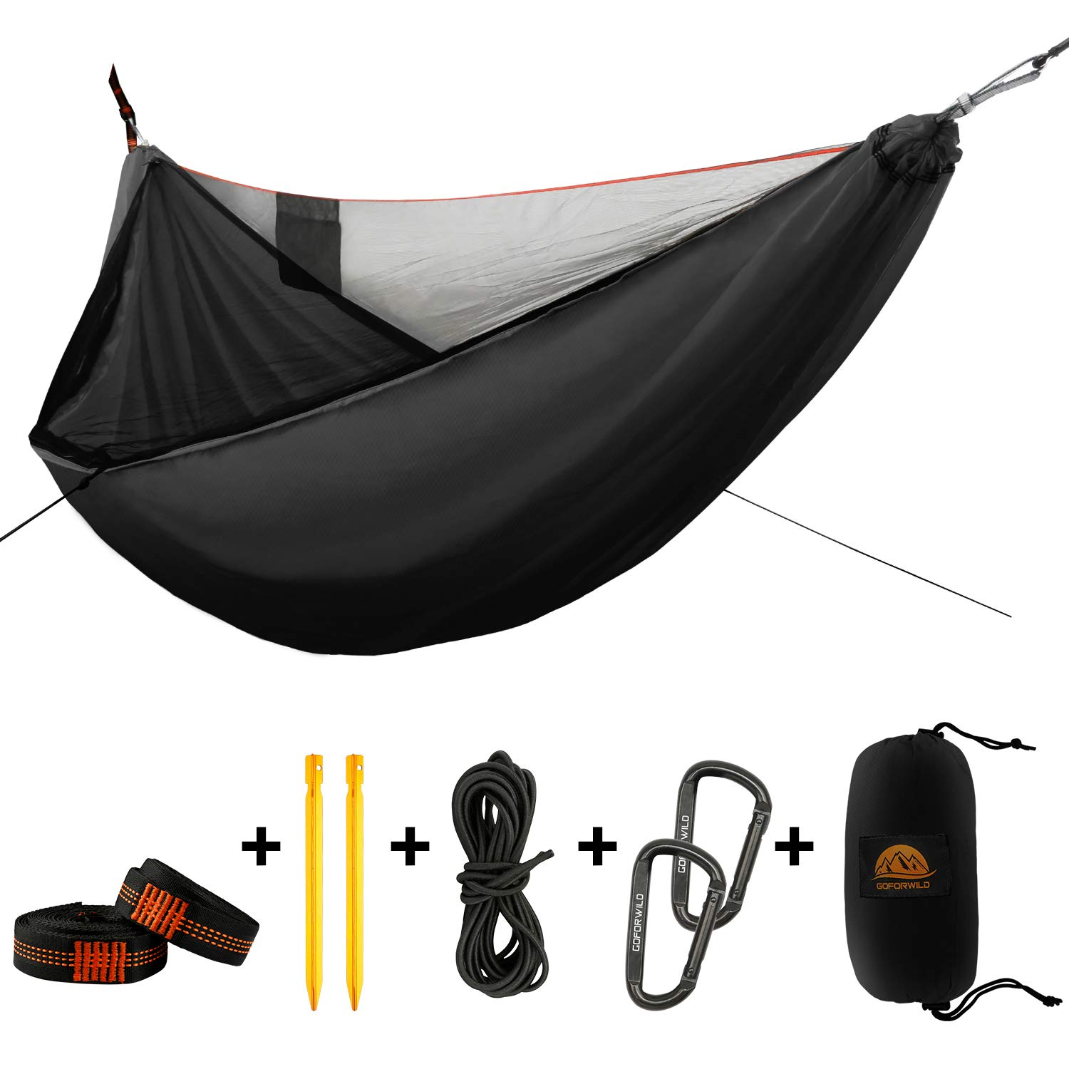 GOFORWILD Camping Hammock with Net, Single Nylon Hammocks in Diagonal Design, Lightweight Portable Backpacking Hammock with Heavy Duty Tree Straps Carabiners for Indoor, Outdoor