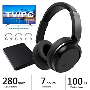 Auriculares Inalámbricos 2.4GHz RF Headphones 3,5mm TV Auriculares Over Ear Hi-Fi Sonido Estéreo Auriculares Inalambricos Recargables para MP3 MP4 PC TV ...