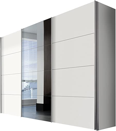 Solutions 49840 – 070 – Armario de Puertas correderas (3 Puertas, Estructura y Frontal Color Blanco, Espejo, Mango Listones alufarben, 68 x 300 x 216 cm: Amazon.es: Hogar