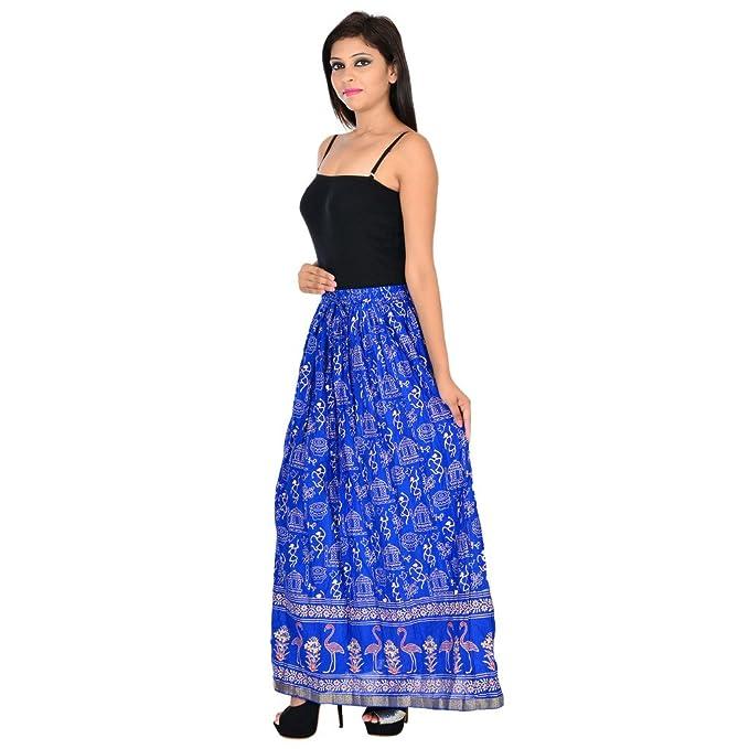 Rangsthali Falda Larga Recta de algodón con Estampado Dorado para ...