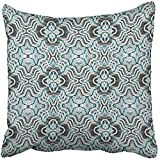 I DO Pillow Covers Print Blue Moroccan Abstract Lines Arabesque Arabian Arabic Azulejos Carpet Christmas Polyester Zippered Square Pillow Case For Home Bed Couch Sofa