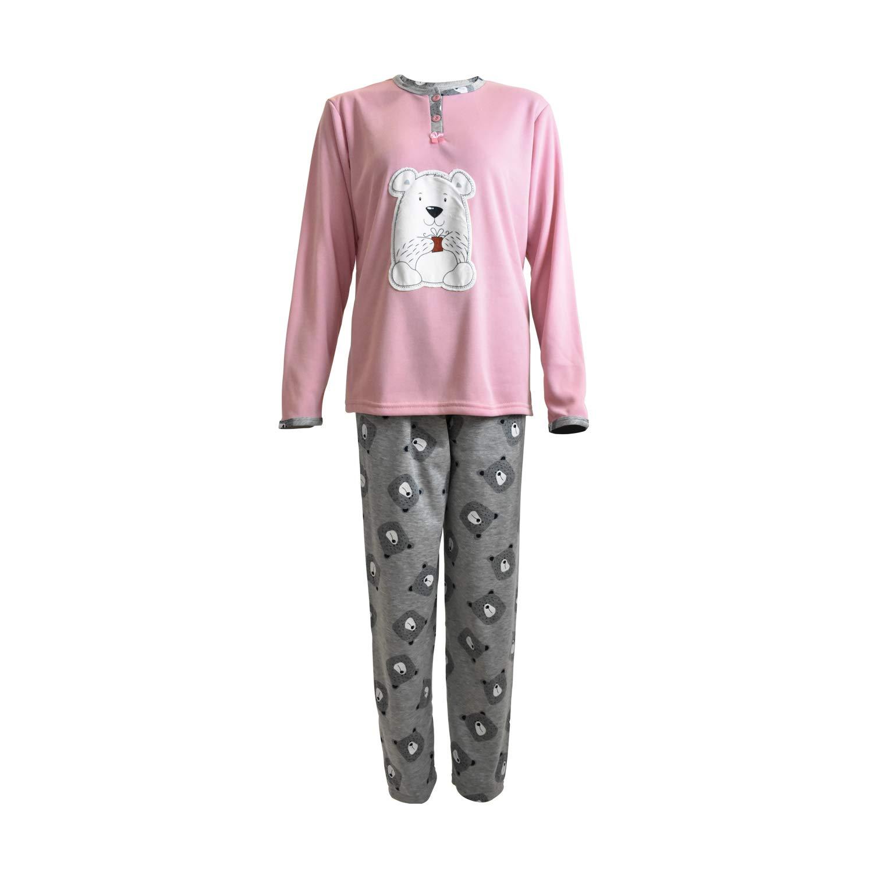 Mini kitten Pigiama da Donna in Caldo Cotone con Lunghi Set Invernali con Motivo Ricamato e Pantaloni Fantasia