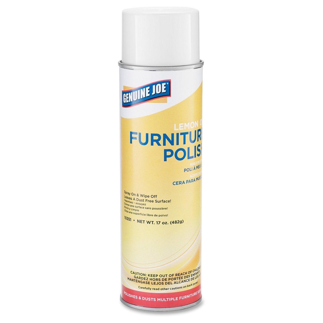 Genuine Joe GJO10351CT Furniture Polish Spray, 17 oz, Lemon Scent (Pack of 12) by Genuine Joe (Image #1)