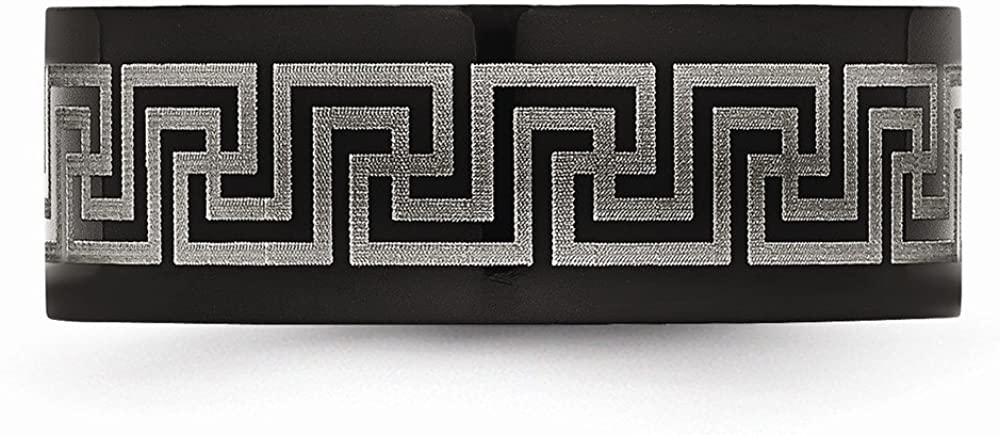Wedding Bands Other Themed Bands Titanium Black IP-plated Greek Key Laser Etched 8mm Brushed//Polished Band Size 7.5
