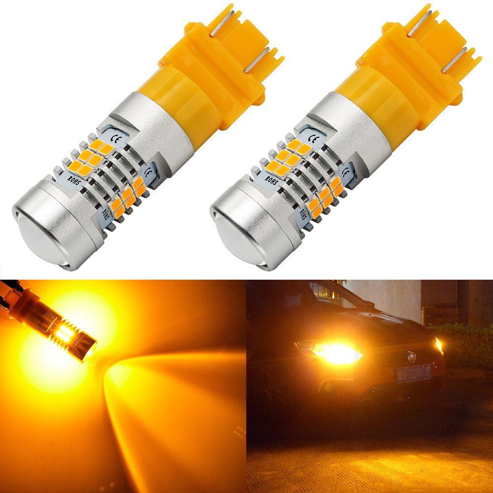 ENDPAGE 3157315630573056 LEDBulb2-pack, Amber Yellow, ExtremelyBright, 21-SMD with Projector Lens, 12-24V,Works asTurnSignalBlinker Lights