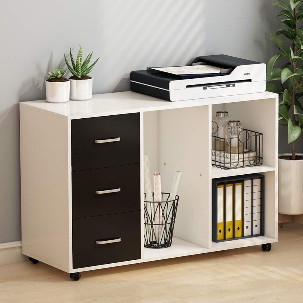 Tribesigns 3 Drawer Wood File Cabinets Pedestal, Large Modern Mobile Filing Cabinets Printer Stand With Wheels, Open Storage Shelves For Home Office Study Bedroom (White & Black)