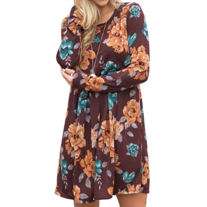 Hibote Vestidos Manga Larga Mujeres Blusas Largas Otoñales Vestidos Camisas Florales Adelgazar Vestidos Grandes Oscilación Cintura