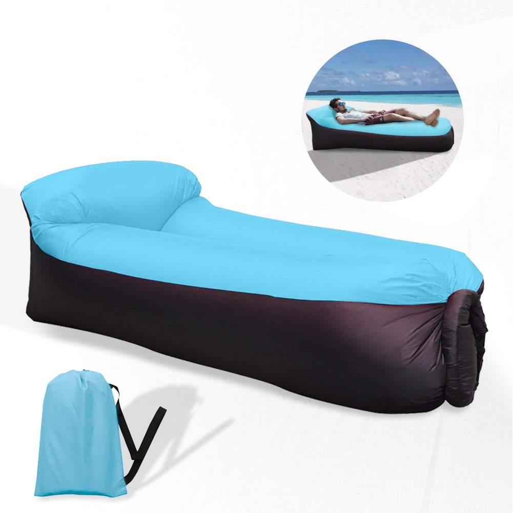 Inflatable furniture for adults - Waitiee Waterproof Portable Inflatable Sofa With Integrated Pillow Air Sofa Inflatable Lounger Air Lounger