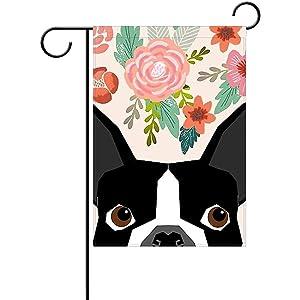 "SmallGardenflagMim Boston Terrier Cute Flower Garden Flag, Custom Holiday Celebrate Garden Decor Flag,12""x18"" Polyester Double Sided"