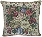 Corona Decor French Woven Flower Theme Decorative Pillow with Cotton/Wool Cover