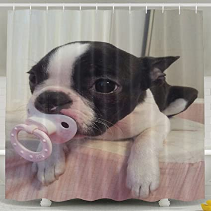 Boston Terrier Wallpaper Shower Curtain For Bathroom Decor Water Repellent Polyester Fabric Curtains 60