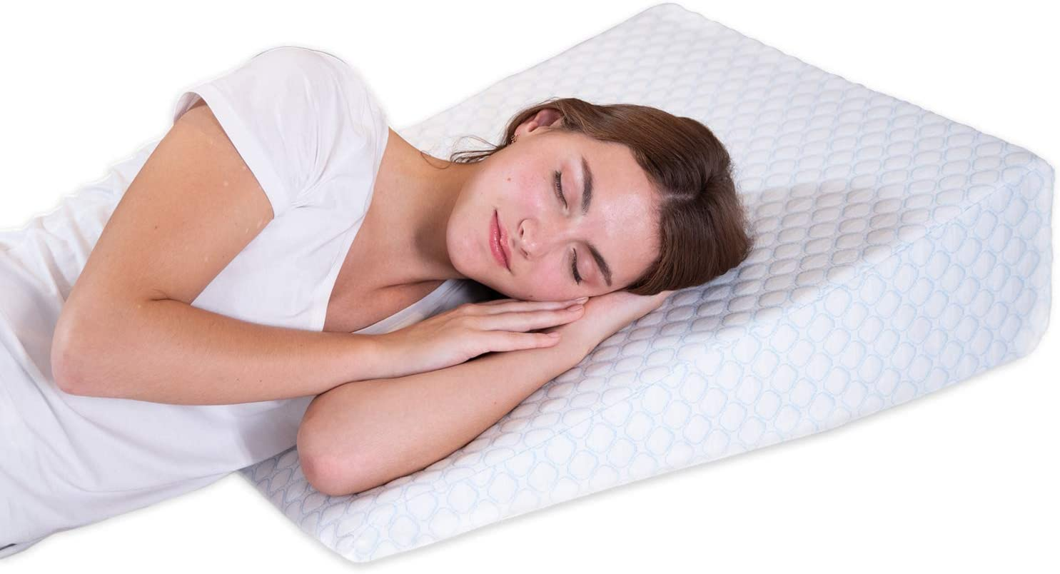 Lenora Bed Wedge Pillow with 1.5 Inch Memory Foam Top, (24 x 28 x 7.5 Inches), Removable and Washable Cover, Perfect for Sleeping or Reading, Leg Elevation, Back Support, 7.5 Inch Wedge: Health & Personal Care
