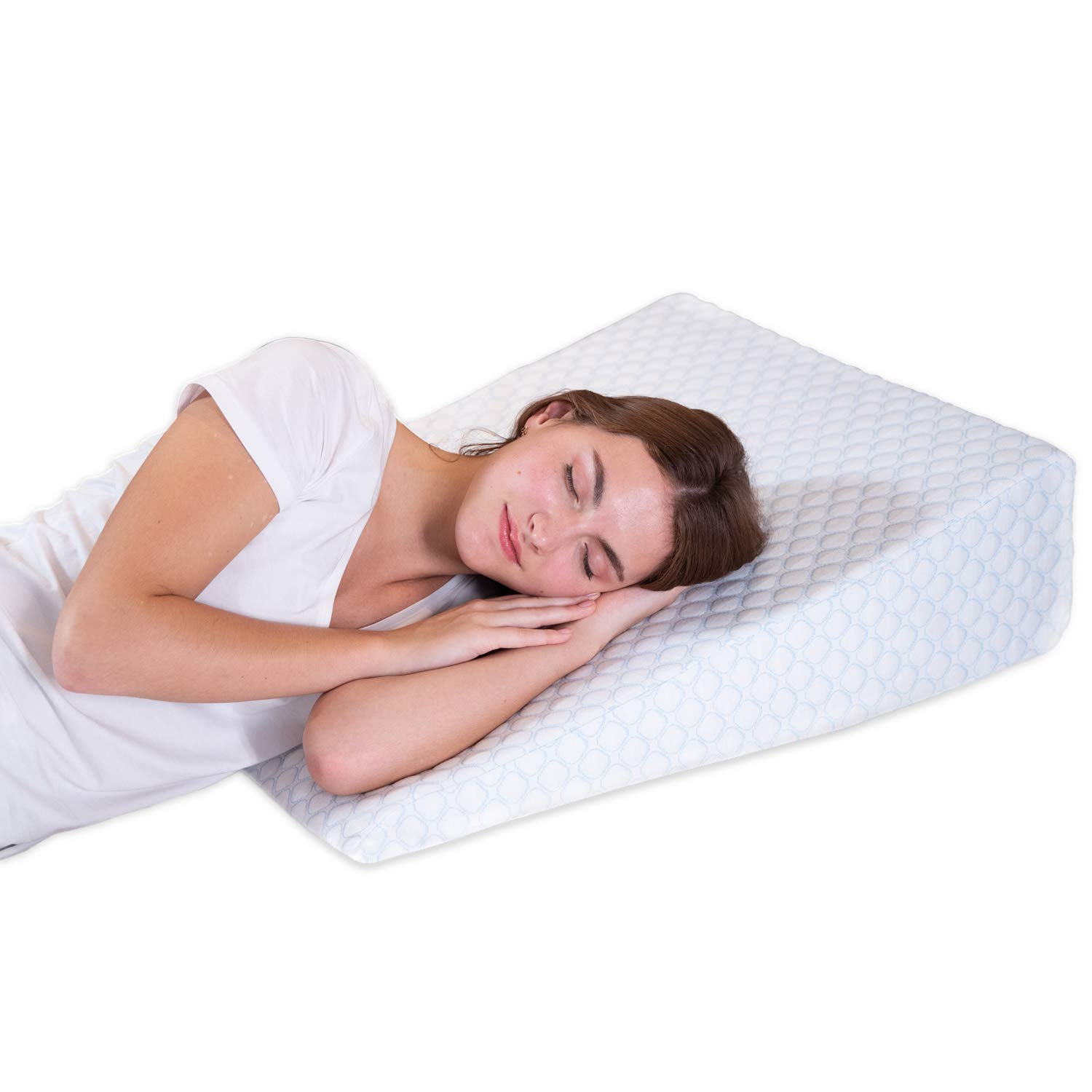 Bed Wedge Pillow with 1.5 Inch Memory Foam Top, (24 x 28 x 7.5 Inches), Removable and Washable Cover, Perfect for Sleeping or Reading, Leg Elevation, Back Support, LENORA 7.5 Inch Wedge by Lenora