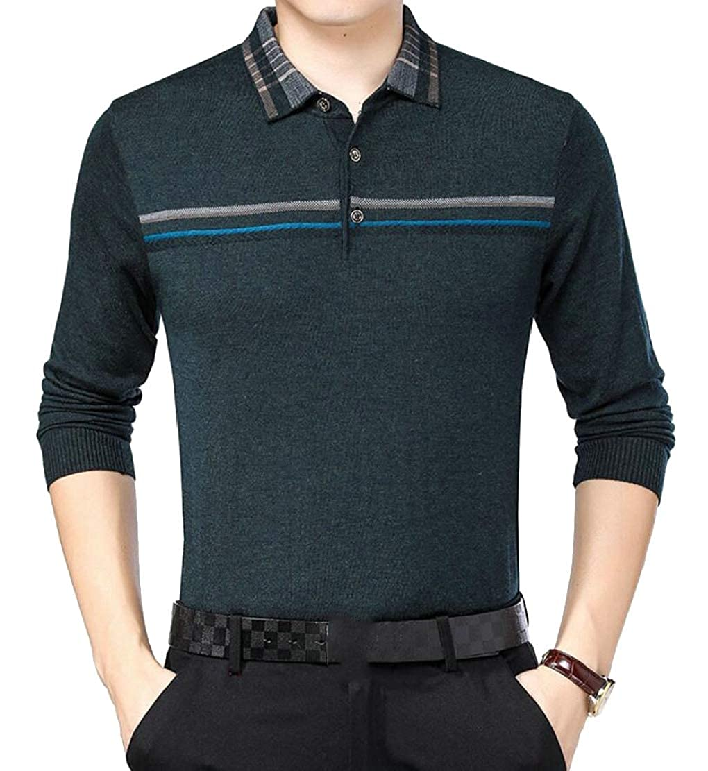 Generic Mens Long Sleeve Polo Shirt Classic Business Slim Fit Cotton Polo T Shirts