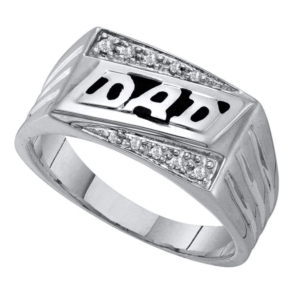 10kt White Gold Mens Round Diamond Dad Father Fashion Ring 1//12 Cttw