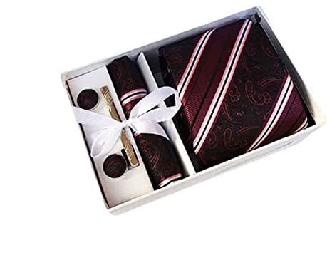 MENDENG Mens Gold 3D Paisley Necktie Party Tie Clip Pocket Square Cufflinks Set