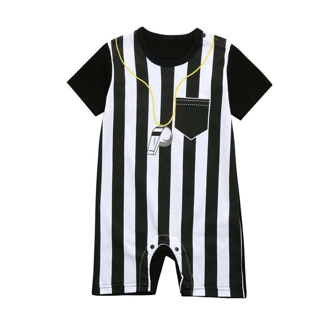WARMSHOP Infant Girls Boys Short Sleeve Cotton Bodysuits Striped Snap-on Referee Romper Jumpsuits with Pocket 0-3 Years
