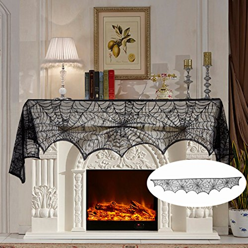 18 x 96 inch Cobweb Fireplace Scarf Mysterious Lace Spider Web Mantle Lace Runner Fireplace Scarf Festive Supplies for Halloween Christmas Party Door Window Decoration (Crafts Halloween Decorations)