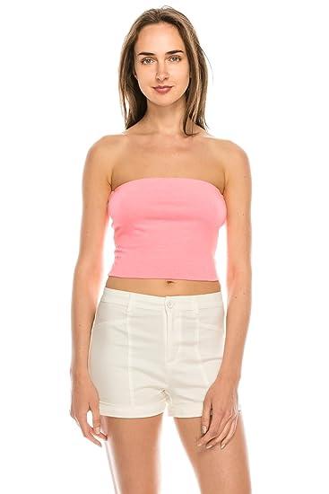 7bd6d9e687 SALT TREE Women s Basic Thick Strapless Cotton Tube Top at Amazon ...