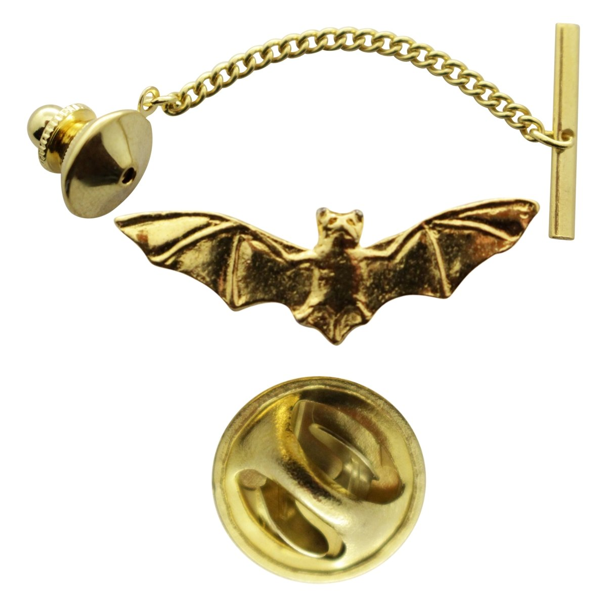 Bat Tie Tack ~ 24K Gold ~ Tie Tack or Pin ~ Sarah's Treats & Treasures by Sarah's Treats & Treasures (Image #1)