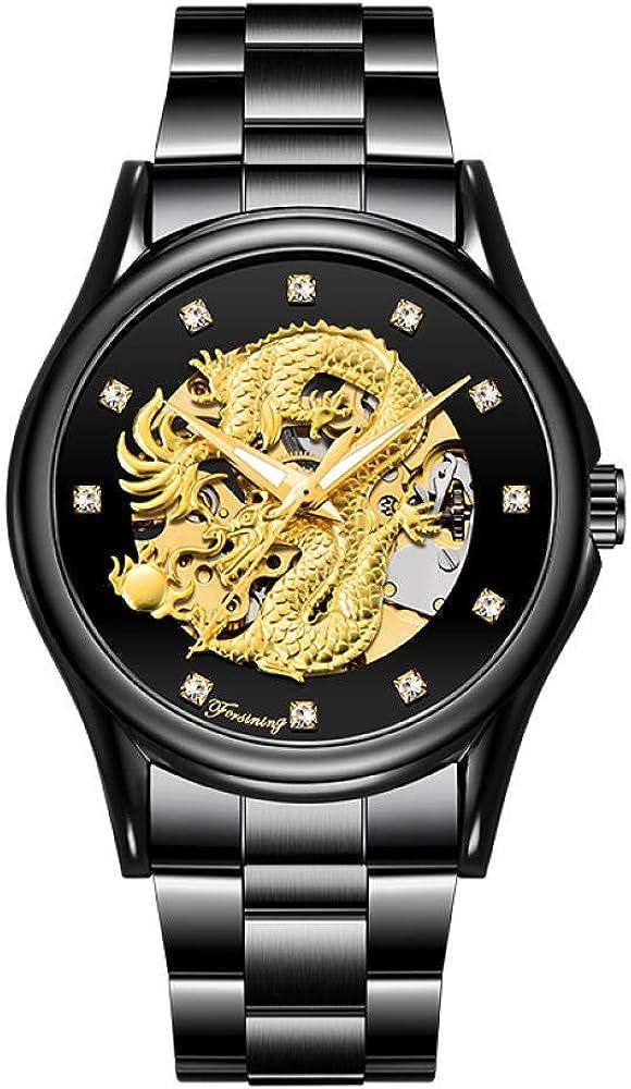 Relojes Reloj Mecánico Automático con Diseño De Dragón Reloj para Hombres Reloj Impermeable