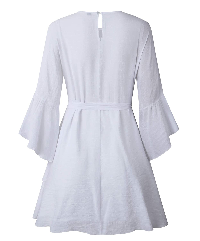 PRETTYGARDEN Women/'s Casual Solid Color/O-Neck 3//4 Bell Sleeve Ruffle Swing A Line Mini Dress Sundress with Belt
