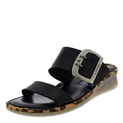dee558061ddb22 Fly London Womens Cape Leather Low Wedge Heel Holiday Beach Summer Sandal -  Bridle Black -