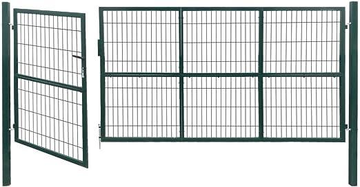 Tidyard Acero Verja Mallada Puerta Barrera Exterior Cercas para Jardín Puerta de Valla de jardín con Postes Acero Verde 350x140 cm: Amazon.es: Hogar