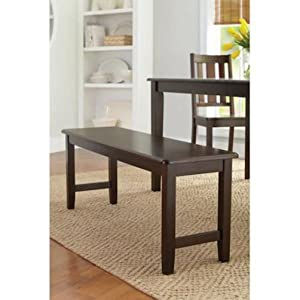 Better Homes and Gardens Brown Two Seat Dining Bench, Mocha, Espresso for Table, Hallway, Entryway or Even Patio